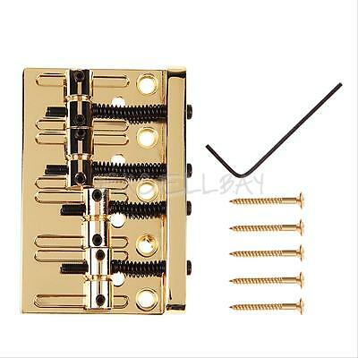 Gold New Professional Four-String Bass Bridge for 4-String Electric Bass Guitar