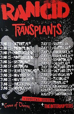 RANCID / TRANSPLANTS 2013 NORTH AMERICAN CONCERT TOUR POSTER - Logos Above Dates