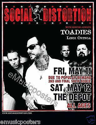 SOCIAL DISTORTION / TOADIES  2012 SALT LAKE CITY CONCERT TOUR POSTER - Mike Ness