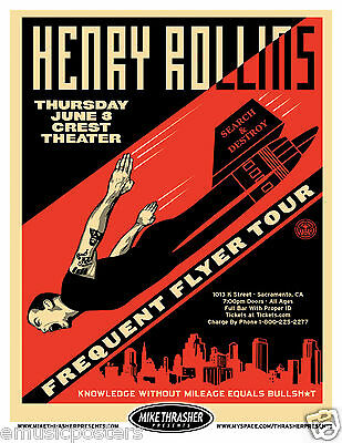 "HENRY ROLLINS 2010 ""FREQUENT FLYER TOUR"" SACRAMENTO CONCERT POSTER - Punk Music"