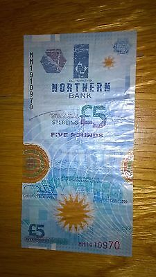 Northern Bank Polymer Plastic £5 Note - 8th October 1999