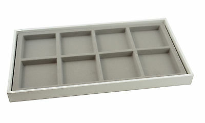 Large White 1 Inch Deep Wooden Display Tray with Choice of Grey Insert
