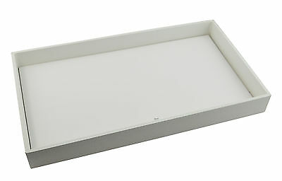 Large White 1 Inch Deep Wooden Display Tray with Choice of White Insert
