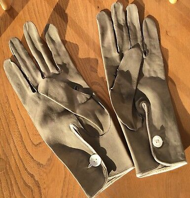 Early 20Th Century Pig Skin Dark Sage Hand Finished Gents Gloves Size 9 (M)