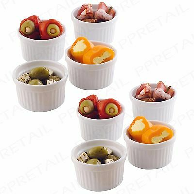 SET OF 8 PORCELAIN DESSERT SERVING RAMEKINS 65mm White Sauce Dip Pot Sides Dish