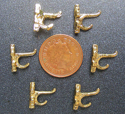 Dolls House Miniature Accessory 1:12 Scale 6x Brass Coat Hooks