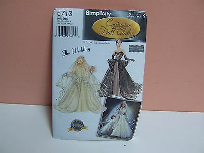 Simplicity Series 6 Couturier Doll Clothes Pattern The Wedding #5713