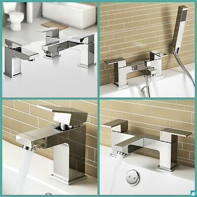 Modern Chrome Square Bathroom Basin Mixer Bath Filler Shower Deck Mount Tap Set