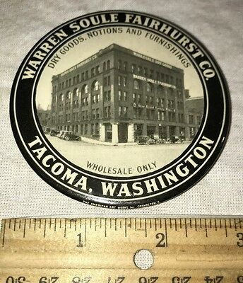 Antique Celluloid Pocket Mirror Paperweight Vintage Tacoma Wa Dry Goods Store