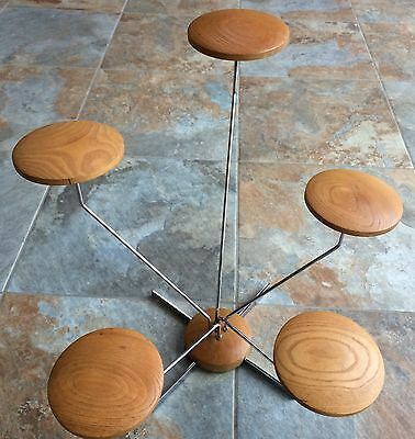 Authentic Vintage Portable Free Standing Metal - Wood 5 Piece Hat Stand