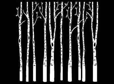 "Birch Trees 4"" Select Black or White Fused Glass Decal"