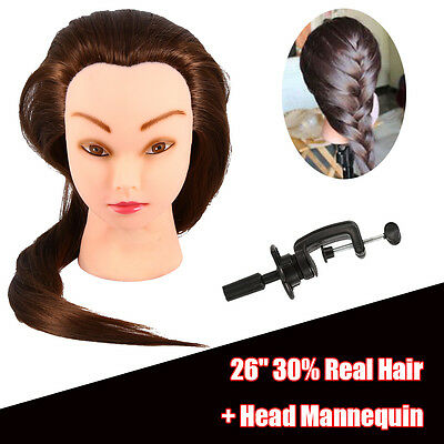 New Salon Hairdressing Training head 30% Long Human hair Mannequin Doll + Clamp