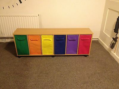 Homebase childs storage / chest of drawers - fabric drawers & beech outer VGC