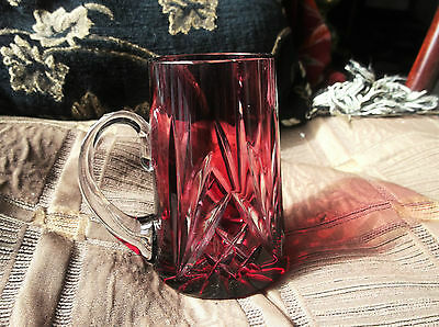 Vintage Elegant Cut Cranberry Clear Glass Small Mug Tankard Facet Handle 4""