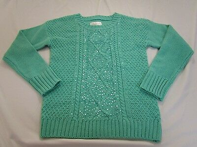 Justice Girl's Size 12 Green Long Sleeve Sweater With Sequins EUC