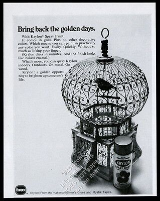1968 Krylon spray paint birdcage photo vintage print ad