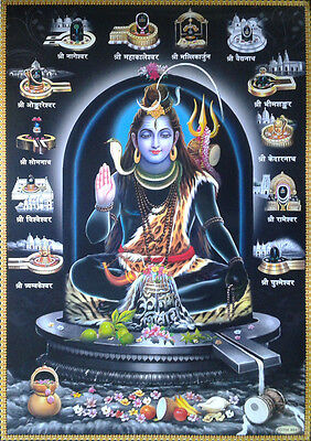 Lord Shiva 12 Shivlings Lingams - POSTER * Big Size 20x30