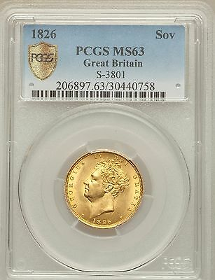 CHOICE UNCIRCULATED 1826 George IV Bare Head Gold Sovereign - PCGS MS-63