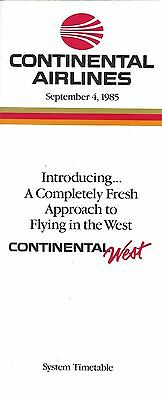 Airline Timetable - Continental - 04/09/85