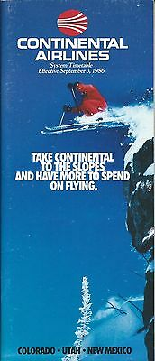 Airline Timetable - Continental - 03/09/86 - Take to the Ski Slopes cover