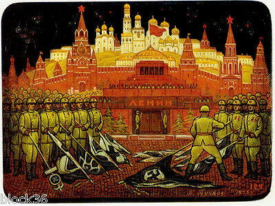 1981 Russian card lacquer miniature box VICTORY PARADE by Fedoskino artist