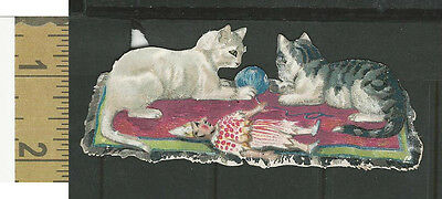 Victorian Diecuts, 1890's, Cats, Two Cats, Tarn, Doll (9)