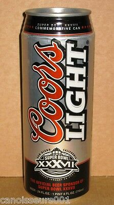 COORS LIGHT 24 oz Beer Can Blowout #9 - Super Bowl XXXVII - BUCCANEERS WIN