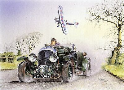 """birkin Blower"" Bentley & Hawker Demon Aircraft--Greetings Print Card"