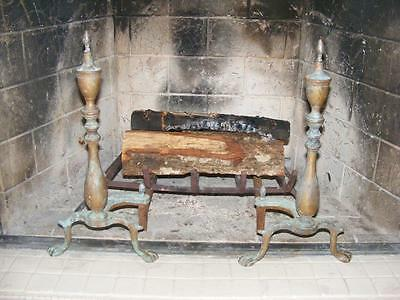VINTAGE Antique brass federalist ANDIRONS for fireplace with PURITAN log holders