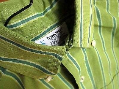True Vtg 1970's Boys Sz 8 GROOVY GREEN STRIPE BUTTON COLLARED  TOWNCRAFT SHIRT