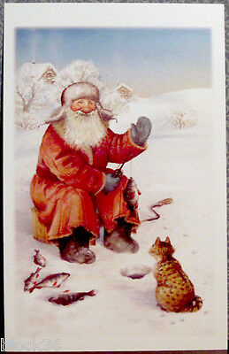 """Russian Postcard with winter scene """"CATCH A FISH! BIG AND SMALL!"""""""
