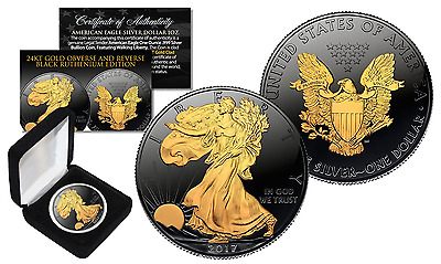 Black RUTHENIUM 1 Oz .999 Fine Silver 2017 American Eagle US Coin with Gold Clad