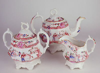 ANTIQUE TEAPOT CREAMER & SUGAR BOWL handpainted 19th c 1800's SLAMAT Chinoiserie