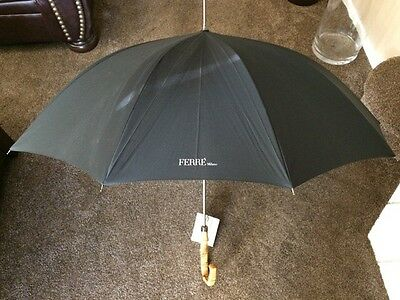 Gianfranco GF Ferre Mens Black with Wood Umbrella Automatic NWT made in Italy