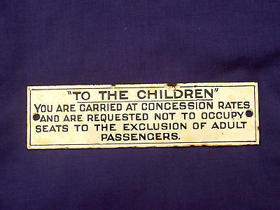 "Sar  Enamel "" To The Children "" Train Sign Plaque  South Australian Railways"