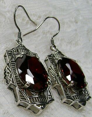 Oval *Garnet* Deco 1930's Sterling Silver Filigree Drop Earrings {Made To Order}