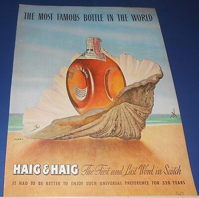 1947 HAIG & HAIG Scotch Kapra sea shell art Ad /Santa Fe El Capitan Ad