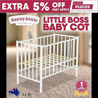 TikkTokk Little BOSS Cot - Wooden Kids Cot - White | Baby's Wooden Cot