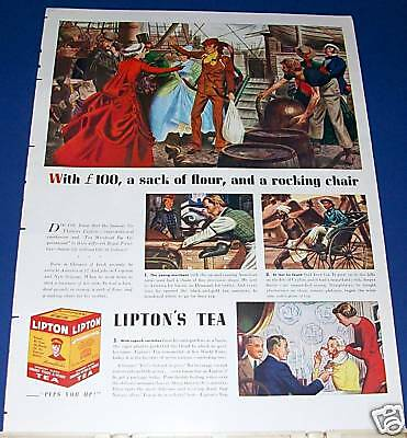 1939 Lipton Tea Ad Thomas Lipton arrives in America art