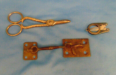 Vintage cast iron wall mount hook hand forged cellar door two antique scissors