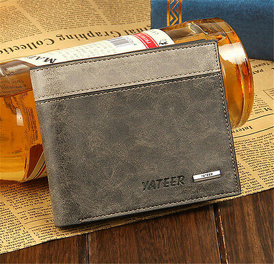 Men's Leather Bifold Wallet ID Business Credit Card Holder Clutch Pockets Purse