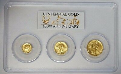 2016-W GOLD CENTENNIAL 3 COIN SET PCGS SP70 Dime Quarter Half FIRST STRIKE
