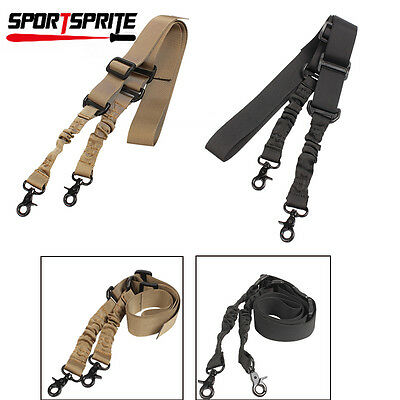 Tactical Two 2 Dual Point Adjustable Bungee Rifle Gun Sling System Strap Tan/BK