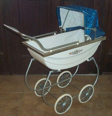 antique baby carriage pram doll mid century infant vintage metal stroller blue
