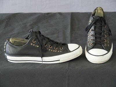 Converse All Star Black leather studded shoes Womens 9 or Mens 7