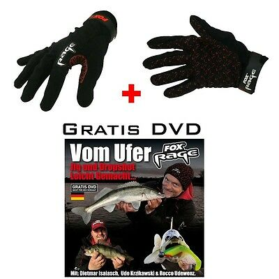 "1 Paar Fox Rage Landehandschuh ""POWER GRIP GLOVES""  Gr: L   + Gratis DVD"