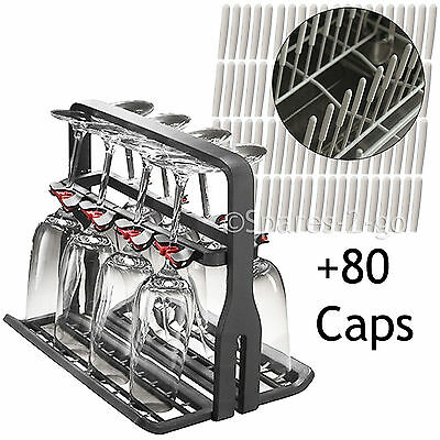 Universal Dishwasher Wine Glass Stand Cage + 80 Prongs Cover Rack Protector Caps
