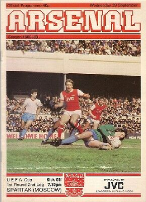 ARSENAL v SPARTAK MOSCOW 1982-83 UEFA CUP PROGRAMME