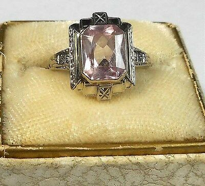 Vintage Art Deco 14k White Gold Ring Made Emerald Cut Pink Spinel Stone Size 7.5