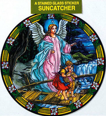 Guardian Angel Stained Glass Sun Catcher Sticker Statues Candles Pictures Listed